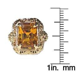 California Girl Jewelry Pre-owned 14k Yellow Gold Yellow Sapphire Art Deco Filigree Ring - Thumbnail 2