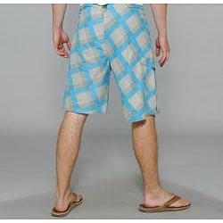 Zonal Men's 'Content' Grey/ Blue Plaid Boardshorts - Thumbnail 2