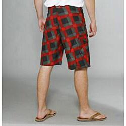 Zonal Men's 'Content' Black/ Red Plaid Boardshorts - Thumbnail 2