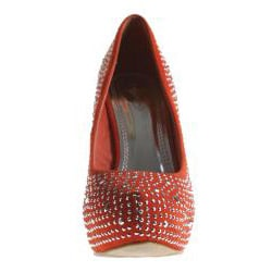 Refresh by Beston Women's 'Alyssa-03' Orange Rhinestone Pumps - Thumbnail 2