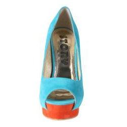 Refresh by Beston Women's 'Paige' Blue Peep-toe Pumps