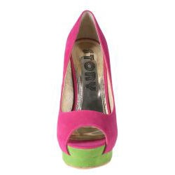 Refresh by Beston Women's 'Paige' Fuchsia Peep-toe Pumps - Thumbnail 2