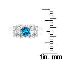 14k White Gold 1-1/10ct TDW Blue Round and Princess Diamond Ring (Size 5) - Thumbnail 2