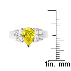 14k White Gold 1-4/5ct TDW Pear Yellow and Princess Diamond Ring (Size 5.5) - Thumbnail 2