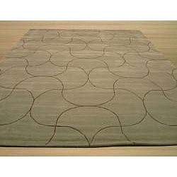 Hand Tufted 'Santana' Green Wool Rug (8'9 x 11'9) - Thumbnail 2
