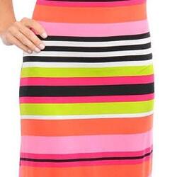 Stanzino Women's Pink/ Orange Striped Sleeveless Maxi Dress