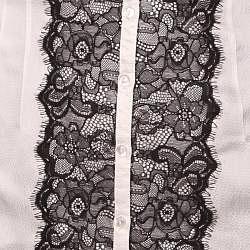 Norma Jeane Women's 'Goddess' White Silk/ Black Lace Blouse