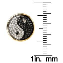 10k Yellow Gold White and Black 2/3ct TDW Diamond Yin Yang Earrings