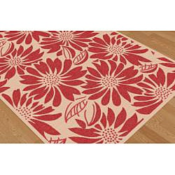 Garden Town Collection Red Area Rug (7'10 x 10'3) - Thumbnail 2