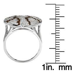 10k White Gold 1ct White and Orange Diamond Heart Ring - Thumbnail 2