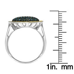 10k White Gold 3/4ct TDW Blue and Yellow Diamond Heart Ring - Thumbnail 2