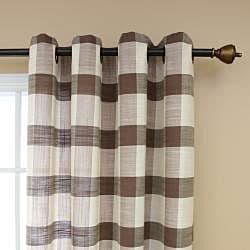 Checkered Faux Linen Grommet 84inch Curtain Pair - Thumbnail 2