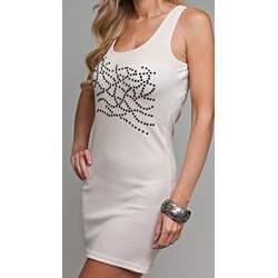 Stanzino Women's Stone Embellished Beige Tank Dress - Thumbnail 2