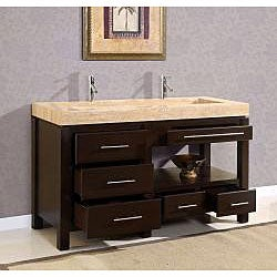 Silkroad Exclusive 60-inch Travertine Stone Vanity - Thumbnail 2