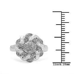 14k Gold over Sterling Silver 1/3ct TDW Diamond Cocktail Ring (I-J, I3) - Thumbnail 2