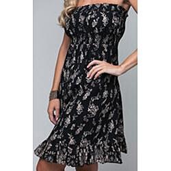 Stanzino Women's Branching Leaves Strapless Black Dress - Thumbnail 2