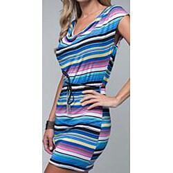 Stanzino Women's Striped Chain Belted Dress - Thumbnail 2