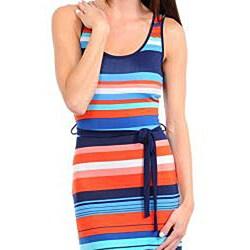Stanzino Women's Navy, Orange and Blue Striped Maxi Dress with Sash - Thumbnail 2
