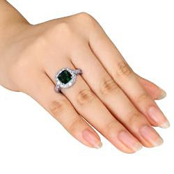 Miadora Sterling Silver Green Glass and Cubic Zirconia Fashion Ring - Thumbnail 2