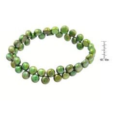 Green Freshwater Button Pearl 7-inch Stretch Bracelet (7 mm) - Thumbnail 2