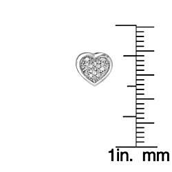 Sterling Silver 1/10ct White Diamond Heart Shaped Earrings - Thumbnail 2