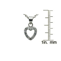 Gioelli Sterling Silver Children's Cubic Zirconia Open Heart Necklace
