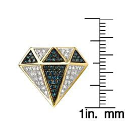 10k Gold 1/2ct TDW Blue and White Diamond Earrings (G-H, I1-I2) - Thumbnail 2