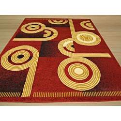 Pat Abstract Red Rug (3'3 X 4'6) - Thumbnail 2