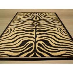 Pat Zebra Black Rug (4'9 x 6'6) - Thumbnail 2