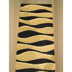 Pat Waves Abstact Black Rug (2' x 7'3)