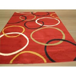 Pat Circles Abstract Red Rug (3'3 x 4'6)