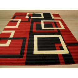 Pat Squares Abstract Red Rug (3'3 x 4'6) - Thumbnail 2
