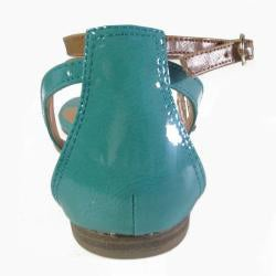 I-Comfort Women's Two-tone Teal Gladiator Sandals