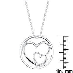 Sterling Silver 'Mother Daughter' Double Heart Round Necklace