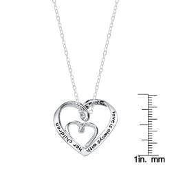 Silver 'A Mother's Love is Always with Her Children' Heart Necklace - Thumbnail 2