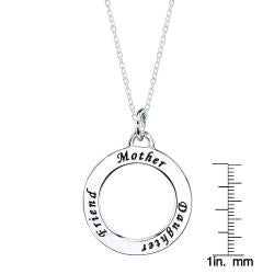 Sterling Silver 'Mother Daughter Friend' Round Necklace