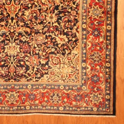 Persian Hand-knotted Sarouk Blue/ Ivory Wool Rug (7' x 10'8) - Thumbnail 2