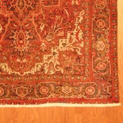 Persian Hand-knotted Tribal Heriz Red/ Grey Wool Rug (6'10 x 10')
