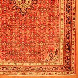 Persian Hand-knotted Tribal Hamadan Red/ Navy Wool Rug (7'6 x 10'9) - Thumbnail 2