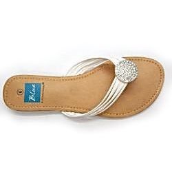 Blue Women's 'Ovastone' White Thong Sandals - Thumbnail 2