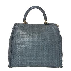 Prada Hand-woven Braided Blue Suede Madras Flap-over Satchel Bag - Thumbnail 2