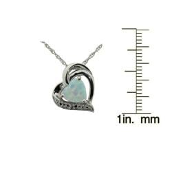Gioelli Sterling Silver Created Opal and CZ Heart Pendant - Thumbnail 2