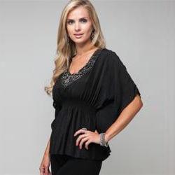 Stanzino Women's Sequined Black Smocked Blouse - Thumbnail 2