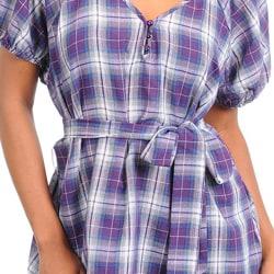 Stanzino Women's Plus Plaid Puff Sleeve Top - Thumbnail 2