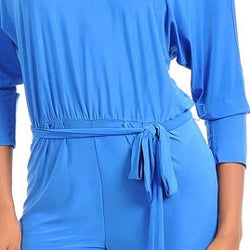 Stanzino Women's V-neck Long Sleeve Jumpsuit with Sash - Thumbnail 2