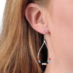 Journee Sterling Silver Colored Bead and Shell Earrings