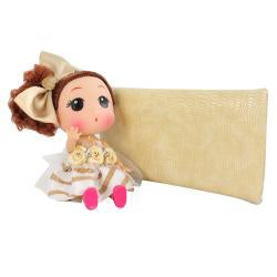 Unico 'Isabelle' Beige Leather Wristlet with Doll Keychain - Thumbnail 2