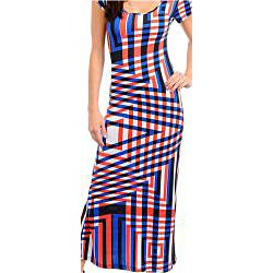 Stanzino Women's Multi Colored Short Sleeve Geometric Print Long Dress