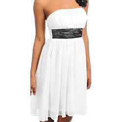 Stanzino Women's Pleated Cinched Waist Dress with Single Strap Detail - Thumbnail 2