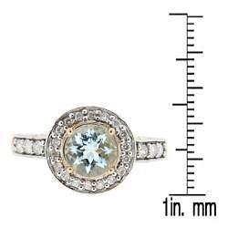D'sire 10k Yellow Gold Aquamarine Round and 1/2ct TDW Diamond Ring (H-I, I1-I2) - Thumbnail 2